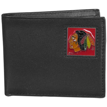 Chicago Blackhawks Leather Bi-fold Wallet Packaged in Gift Box