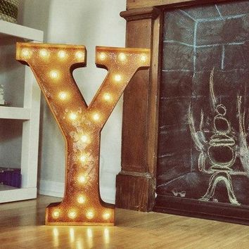 """24"""" Letter Y Lighted Vintage Marquee Letters (Rustic)"""