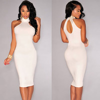 White Turtleneck Key-Hole Back Bodycon Midi Dress