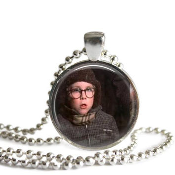 A Christmas Story Necklace Ralphie Silver Plated Picture Pendant Oh, Fudge!