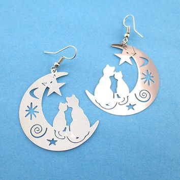 Cats on a Crescent Moon Cut Out Silhouette Shaped Dangle Earrings in Silver | Animal Jewelry