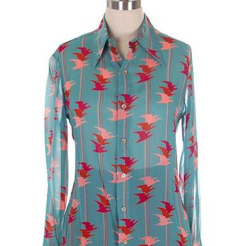 Vintage Womens Blouse Givenchy Flying Birds Print Small 1970s