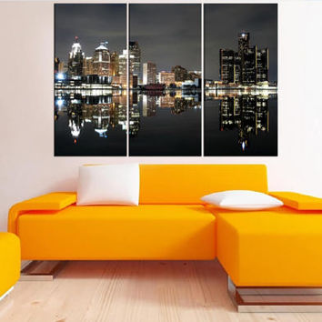 large w ll art Detroit skyline canvas Print, detroit night photo print gallery art, extra large wall art, 0s85
