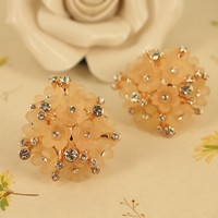 Flower Bouquet with Rhinestone Earrings 02 light pink