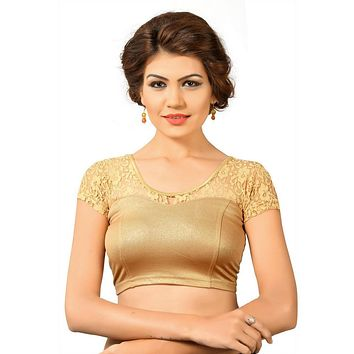 Designer Indian Copper Shimmer Non-Padded Stretchable Half Sleeves Saree Blouse Crop Top (A-23)