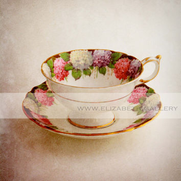 Gilded Floral Tea Cup Photography - Vintage - Pink - Purple - Gold - 8x10 Wall Print