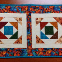 Quilted Table Runner, Southwest Decor, Teal and Orange Quilted Tableware, Hostess Gift, Western Mini Quilt, Quiltsy Handmade