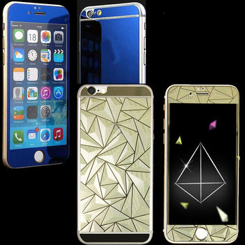 2pcs Front+Back 3D Diamond Mirror Effect Color Tempered Glass for Iphone 4 4S 5 5S 6 6S 6Plus 6Splus Film case Screen Protector