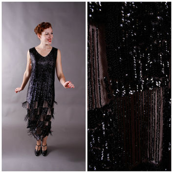 1920s Vintage Dress - Incredible Sequined and Fringed Authentic 20s Flapper Dress - Parisian