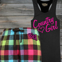 Juniors Glitter Flirt Tank & Flannel Pants