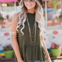 Andreas Ruffle Tank Top (Olive)