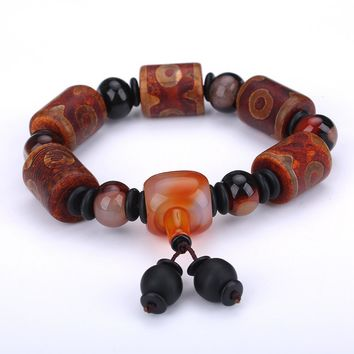 Natural Agate Bracelet Popular Chalcedony Couple Party Crystal Charm Round Beads Agate Bracelet And Men Shipping