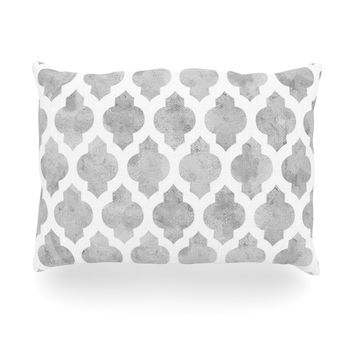 "Amanda Lane ""Gray Moroccan"" Grey White Oblong Pillow"