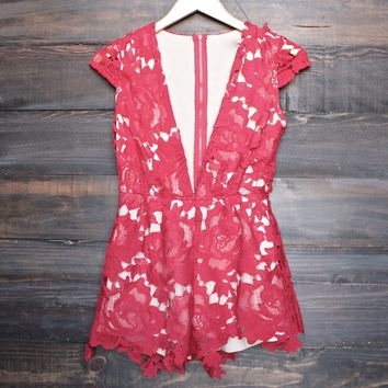 floral appliqué deep plunge tailored romper - red