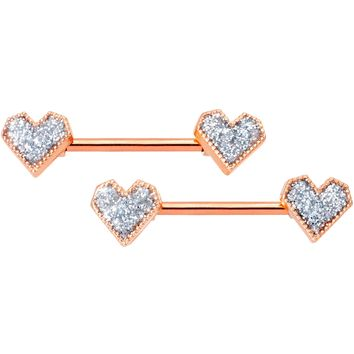 "14 Gauge 9/16"" Rose Gold Tone Valentine Heart Barbell Nipple Ring Set"