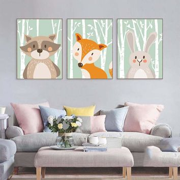 Cartoon Animals Rabbit Bear Fox  Canvas Art Print Painting Poster A4 Wall Picture For Kid Bedroom Living Room Home Decoration