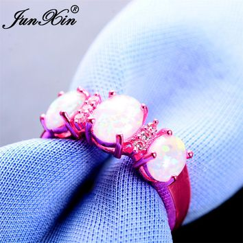 JUNXIN Female White Fire Opal Ring Fashion Pink Gold Filled Jewelry High Quality Vintage Wedding Rings For Women Unique Ring
