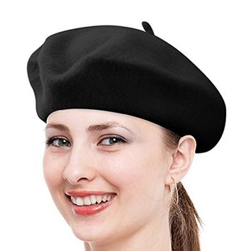 FuzzyGreen French Beret, Solid Color French Style Cap Hat Wool Foreign Beret