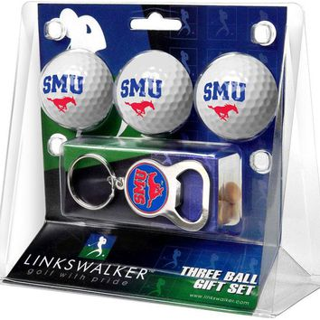 Southern Methodist University Mustangs 3 Ball Gift Pack with Key Chain Bottle Opener