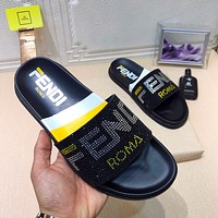 FENDI Women Men Casual Fashion Flat Sandal Slipper Shoes