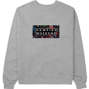 vampire weekend logo sweater Gray Sweatshirt Crewneck Men or Women for Unisex Size with variant colour