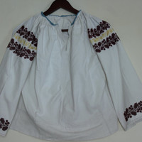 Gorgeous Beaded Blouse Vintage Romanian Shirt Hand Beaded With Purple And Yellow Beads Floral Pattern