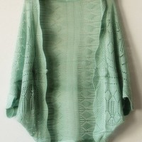 Green three quarters sleeve shrug sweater  cardigan type   style zz92702901 in  Indressme