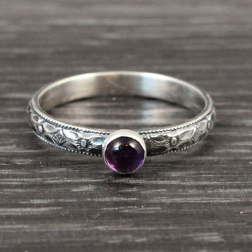 Amethyst ring, February Birthstone ring, stacking mothers ring, vintage style, sterling silver ring, purple gemstone, stacking ring, floral