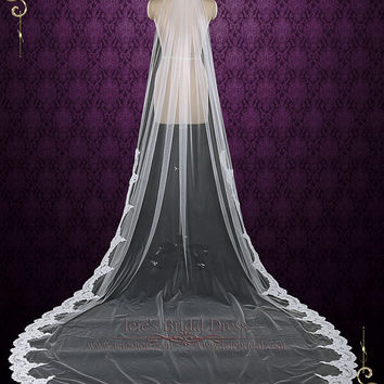 One Layer Cathedral Wedding Veil with Lace from Midway, Lace Wedding Veil, Long Lace Veil, Single Tier Veil    VG1081