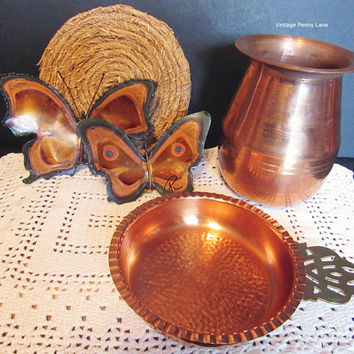 Vintage Copper Decor Items, Handmade Butterfly Wall Art, Hammered Copper Candle Holder, Copper Vase, Bohemin Style