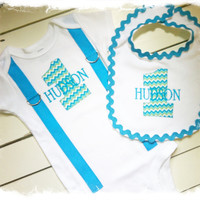 BOYS FIRST BIRTHDAY Outfit-Turquoise Chevron Birthday Party-Chevron Birthday Shirt-Chevron Birthday Bodysuit with Bib-Cake Smash
