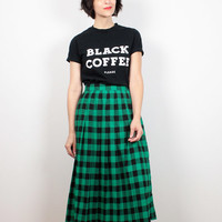 Vintage 80s Skirt Kelly Green Black Buffalo Plaid Midi Skirt Lumberjack Plaid Flannel Skirt 1980s Skirt High Waisted Grunge Skirt S Small