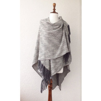 Women ponchos, Poncho, Oversize Scarf, Woman, Gray, Grey