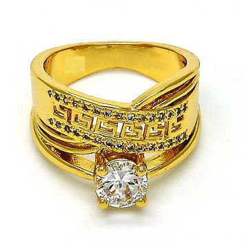 Gold Layered Multi Stone Ring, Greek Key Design, with Cubic Zirconia, Golden Tone