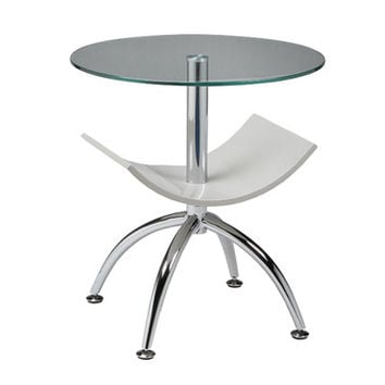 Pastel Ingardia Round Glass End Table in Chrome & Glossy Champagne Wood Base