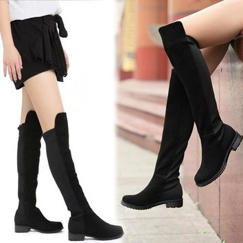 Sexy Women Faux Suede Over Knee Stretch Thigh High Slouchy Flat Heel Boots Shoe 7_S =
