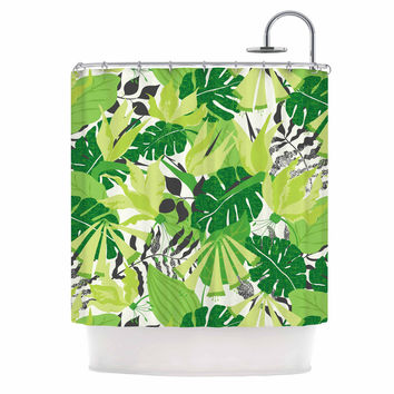 "Jacqueline Milton ""Tropicana - Green"" Lime White Shower Curtain"