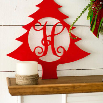 18 in Christmas Tree Wood Monogram