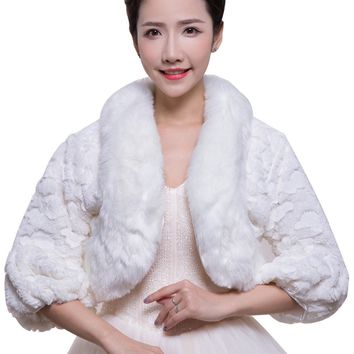 In Stock Wedding Accessory Faux Fur Black White Custom Made Bridal Coat Wedding Bolero Stoles Jacket Shrug Wraps LF38