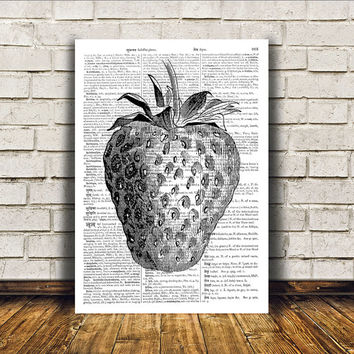 Strawberry poster Kitchen decor Antique art Retro print RTA128