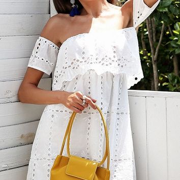 I'll Let You In White Eyelet Lace Short Sleeve Off The Shoulder Tiered Casual Mini Dress