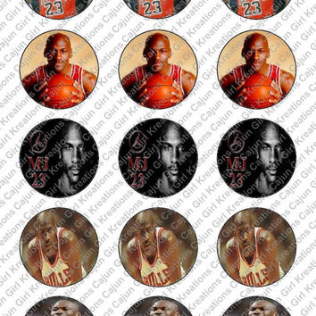 """Michael Jordan 1"""" Round Circles Bottle Cap Images Cupcake Toppers Instant Download Digital Emailed 4x6"""