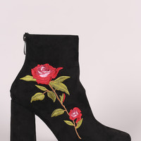 Suede Floral Embroidered Ankle Boots