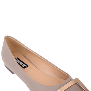 Faux Leather Pumps With Golden Buckle