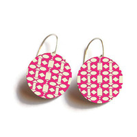 Abstract Art Earrings - FREE SHIPPING to USA flat circle earring dye sublimation sterling silver jewelry pink geometric art print pattern