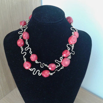 handmade ethnic necklace of bamboo coral and hammered brass