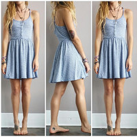 A Button Up Striped Sundress- Blue