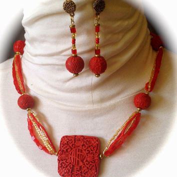 Cinnabar Necklace, Matching Earrings, Red, Gold and Red Seed Beads.
