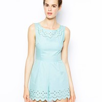 AX Paris Scalloped Playsuit with Laser Cut Detail