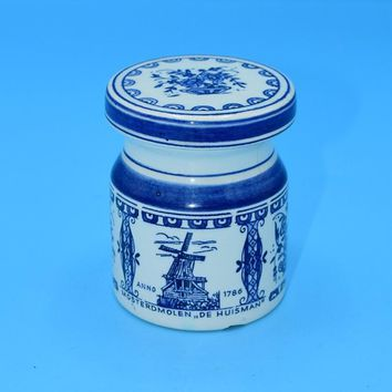 Delfts Blue and White Spice Jar Vintage Ceramic Peper Cork Lid Container Kitchen Jar Blue & White Decor Holland Dutch Jar FREE SHIPPING